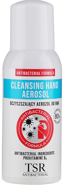 Spray antibacterial para manos con 80% alcohol - TSR Antibacterial Cleansing Hand Aerosol