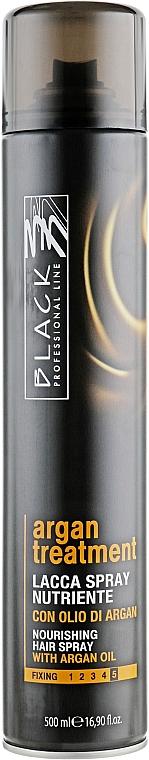 Laca nutritiva con aceite de argán, fijación extra fuerte - Black Professional Line Argan Treatment Nourishing Hairspray
