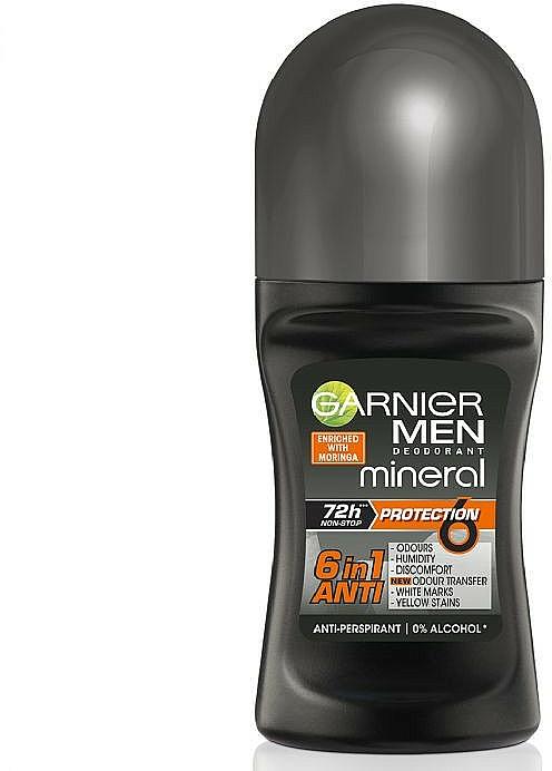 Desodorante roll-on antitranspirante 6 en 1, sin alcohol - Garnier Mineral Men Roll On Protection 6
