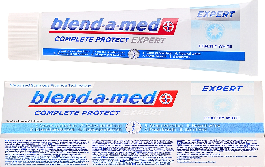Pasta dental blanqueadora con fluoruro y zinc - Blend-a-med Complete Protect Expert Healthy White Toothpaste — imagen N1