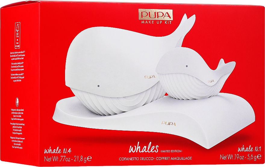Kit de maquillaje (paleta de maquillaje/21.8g + paleta de labiales/5.6g) - Pupa Whales Shade 001 Makeup Kit Limited Edition