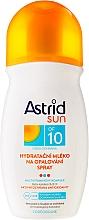 Perfumería y cosmética Spray de protección solar baja, con complejo multivitamínico y betacarotenos A/E/F - Astrid Sun Moisturizing Milk Spray SPF 10