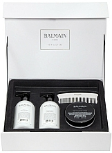 Perfumería y cosmética Set revitalizante para cabello seco y dañado - Balmain Silver Revitalizing Care Set (masc./200ml+acond./300ml+champú/300ml+peine)