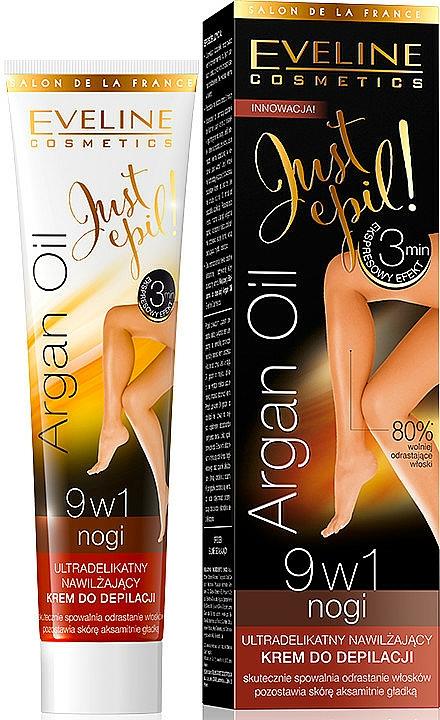Crema depilatoria para piernas 9 en 1 con aceite de argán - Eveline Cosmetics Argan Oil