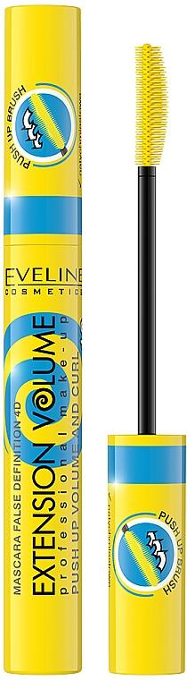 Máscara de pestañas para volumen y curvatura - Eveline Cosmetics False Definition 4D Extension Volume Push Up Volume And Curl Mascara