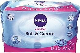 Perfumería y cosmética Pack tooallitas húmedas para bebés sin alcohol 2x62uds - Nivea Baby Soft & Cream