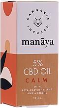 Perfumería y cosmética Aceite de cáñamo con β-cariofileno y mirceno para calmación y relajación - Manaya 5 % CBD Oil Calm
