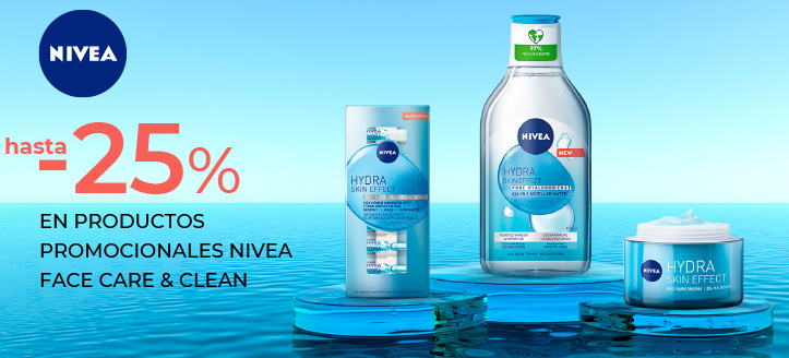 Descuentos de hasta el 25% en productos promocionales Nivea Face Care & Clean. Los precios indicados tienen el descuento aplicado