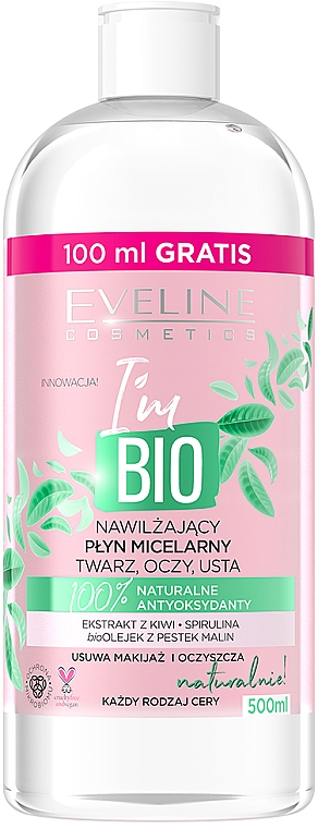 Agua micelar natural con extracto de kiwi y aceite de frambuesa , sin parabenos - Eveline Cosmetics I'm Bio