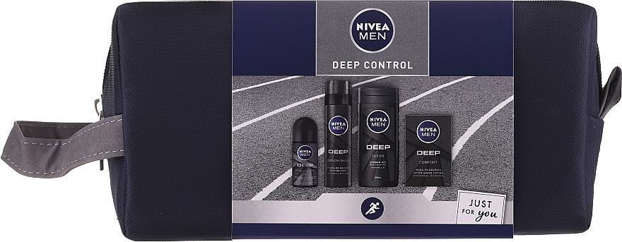 Nivea Men Deep Control 2020 - Set (gel de duchal/250ml+ loción aftershave/100ml+ espuma de afeitar/200ml+ deo/50ml+ neceser)