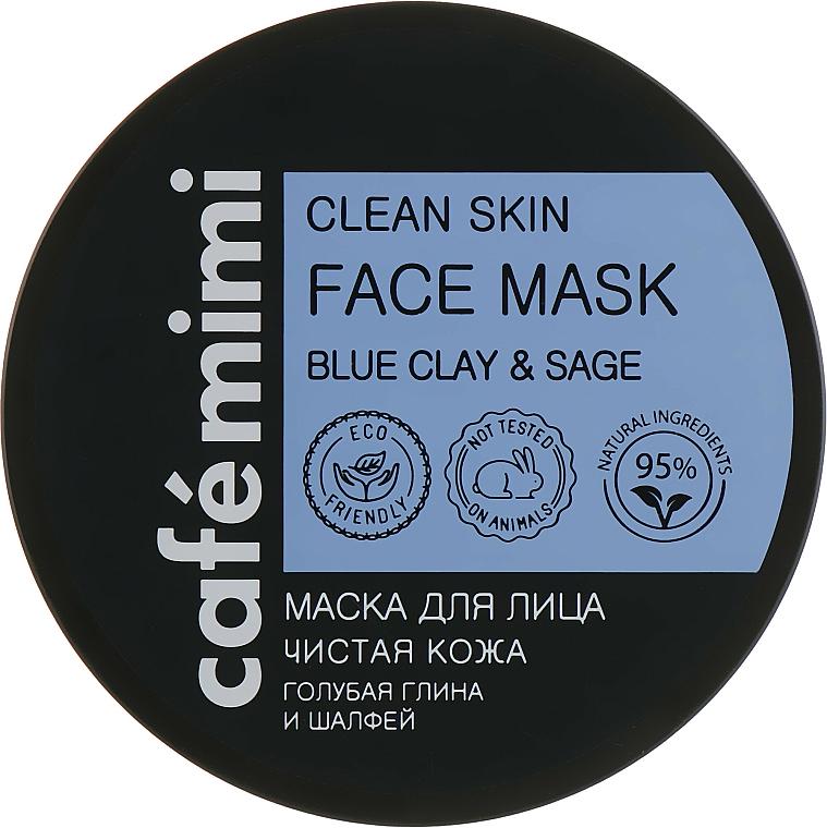 Mascarilla facial natural con arcilla azul y extracto de salvia - Cafe Mimi Clean Skin Face Mask