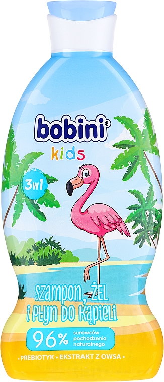 Champú y gel de ducha infantil con extracto de avena, aroma a frambuesa - Bobini