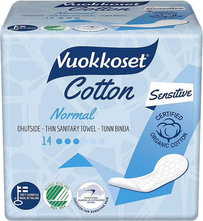 Compresas de algodón sin alas normal, 14 uds. - Vuokkoset Cotton Normal Sensitive
