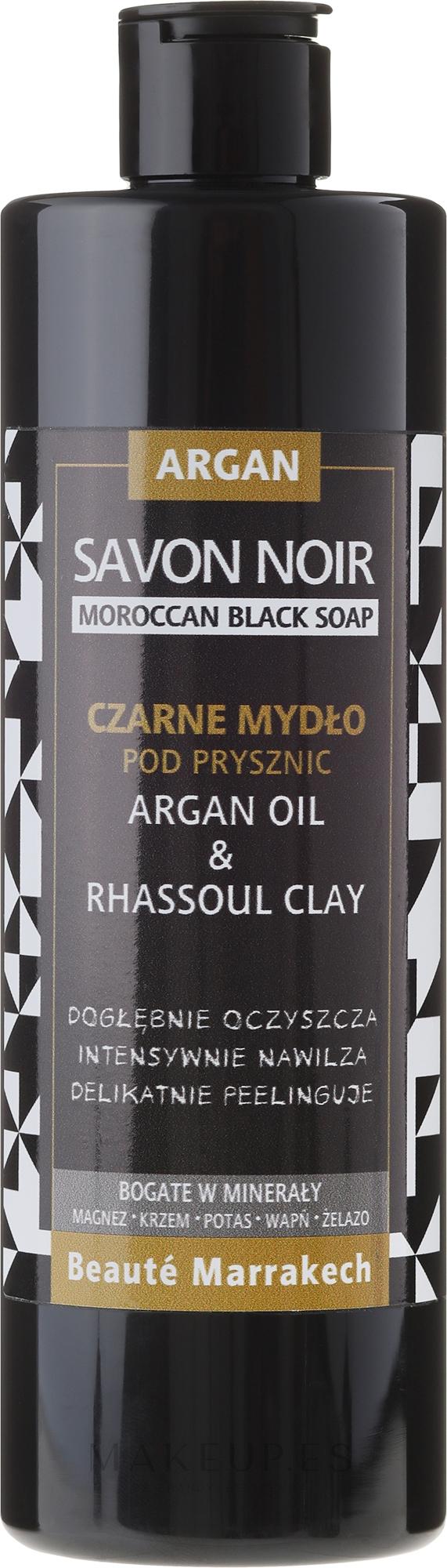 Jabón negro de ducha natural con aceite de argán y arcilla Rhassoul - Beaute Marrakech Shower Black Soap Argan Oil & Rhassoul Clay — imagen 400 ml
