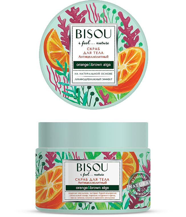 Exfoliante corporal anticelulítico con hidrolato de naranja, efecto drenaje linfático - Bisou I feel... Nature Anti-Cellulite Body Scrub Orange & Brown Algae