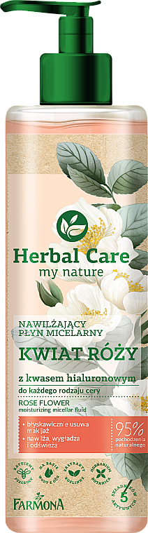 Agua micelar natural hidratante con ácido hialurónico - Farmona Herbal Care Micellar Water