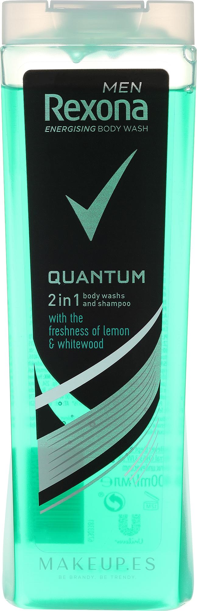 Champú y gel de ducha 2en1 con limón y madera blanca - Rexona Men Quantum Shower Gel Body & Hair — imagen 250 ml