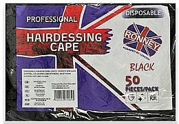Perfumería y cosmética Capa de peluquería desechable, negro, 50uds. - Ronney Professional Hairdressing Cape
