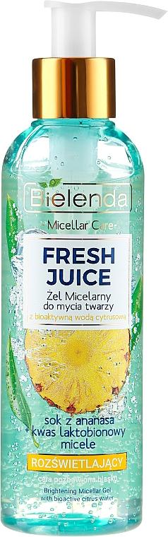 Gel limpiador iluminante con agua cítrica bioactiva, piña y ácido lactobiónico - Bielenda Fresh Juice Micellar Gel Pineapple