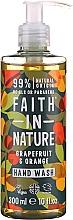 Perfumería y cosmética Jabón de manos líquido con aceites orgánicos de pomelo y naranja - Faith in Nature Grapefruit & Orange Hand Wash