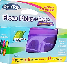 Perfumería y cosmética Set cepillos interdentales + 2 estuches de viaje color violeta y frambuesa - Dentek Moulthwash Blast