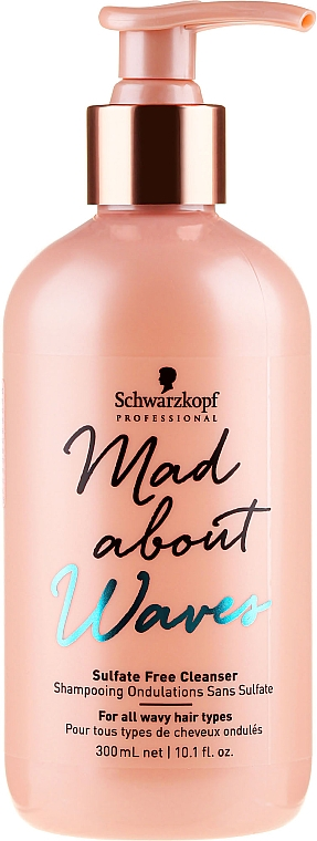 Champú para rizos con queratina y pantenol - Schwarzkopf Professional Mad About Waves Sulfate Free Cleanser
