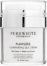 Perfumería y cosmética Crema facial iluminadora con extracto de lirio y proteína de seda - Pure White Cosmetics Flawless Illuminating Silk Cream