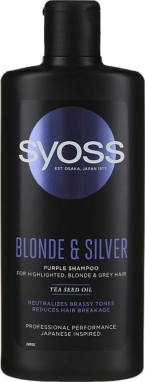 Champú con aceite de semilla de té - Syoss Blond & Silver Purple Shampoo For Highlighted, Blonde & Grey Hair