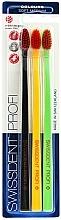 Perfumería y cosmética Cepillo dental de dureza suave-media, negro + amarillo + verde - SWISSDENT Profi Colours Soft-Medium Trio-Pack