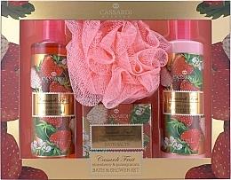 Perfumería y cosmética Set - Cassardi Fruit Strawberry And Pomegranate (loción corporal/250ml + gel de ducha/250ml + sales de baño/100g + esponja de baño)