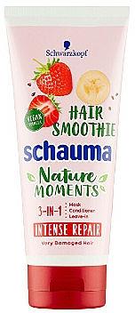 Mascarilla reparadora para cabello 3 en 1 con fresa, plátano y chía - Schwarzkopf Schauma Nature Moments Hair Smoothie 3in1 Intense Repair