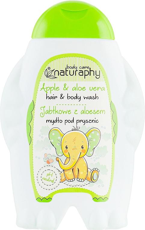 Champú y gel de ducha infantil con extrato de aloe, aroma a manzana - Bluxcosmetics Naturaphy Hair&Body Wash