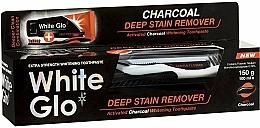 Perfumería y cosmética Set de blanqueamiento dental - White Glo Charcoal Deep Stain Remover Toothpaste (pasta dental/100 ml + cepillo dental/1ud.)