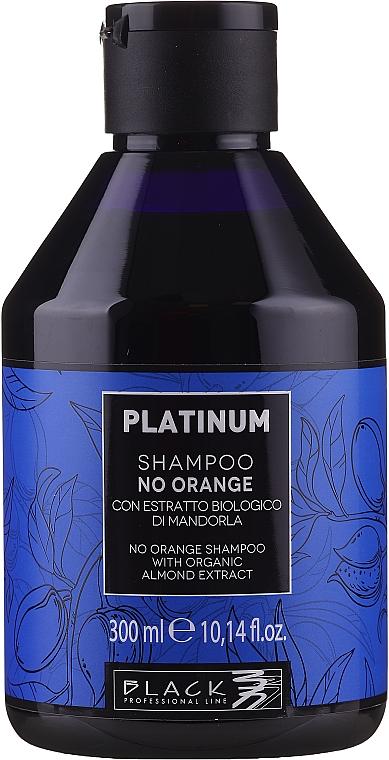 Champú neutralizador de tonos naranjas para cabello castaño con extracto de almendra orgánica - Black Professional Line Platinum No Orange Shampoo With Organic Almond Extract