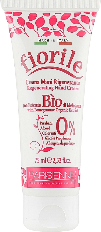 Crema de manos con granada de agricultura biológica - Parisienne Italia Fiorile Pomergranate Hand Cream
