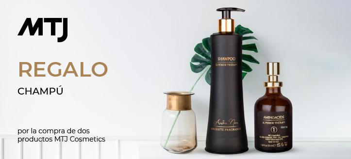 Por la compra de dos productos de la marca MTJ Cosmetic, consigue un champú de regalo