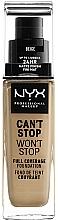 Perfumería y cosmética Base de maquillaje ligera resistente al agua, acabado mate de larga duración - NYX Professional Makeup Can't Stop Won't Stop Full Coverage Foundation