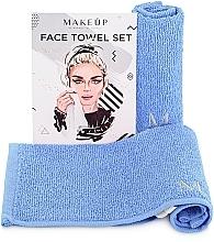 "Perfumería y cosmética Set toallas para rostro, azul ""MakeTravel"" - Makeup Face Towel Set"