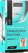 Perfumería y cosmética Tiras limpiadoras de poros con carbón activo y aceite de menta, 6uds. - Beauty Formulas Purifying Charcoal Deep Cleansing Nose Pore