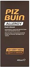 Perfumería y cosmética Crema protectora solar facial para pieles sensibles, SPF 50+ - Piz Buin Allergy Face Cream SPF50