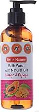 Perfumería y cosmética Gel de ducha con aceite de jojoba y oliva, aroma a mango y papaya - Belle Nature Bath Wash Mango&Papaya