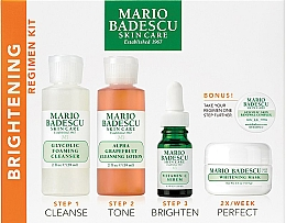 Perfumería y cosmética Set facial - Mario Badescu The Brightening Kit (espuma/117ml+loción/236ml+sérum/29ml+mascarilla/56g+complejo/3g)