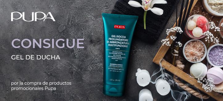 Por la compra de productos promocionales de la marca Pupa, recibe un gel de ducha de regalo
