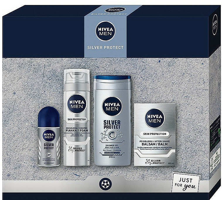 Set - Nivea Men Silver Protect 2020 (bálsamo aftershave/100ml + espuma de afeitar/200ml + gel de ducha/250ml + deo/50ml)