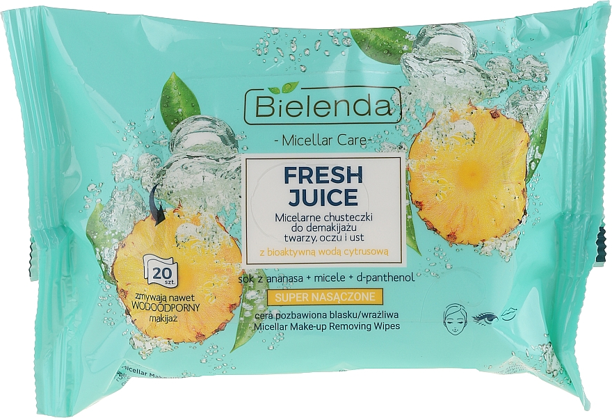 Toallitas micelares desmaquillantes con jugo de piña - Bielenda Fresh Juice Micelar Care Make-up Removing Wipes