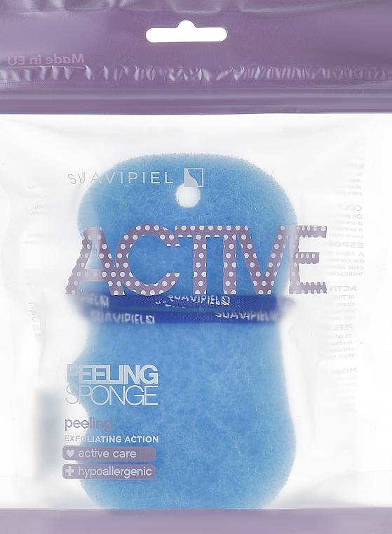 Esponja de baño exfoliante hipoalergénica, azul - Suavipiel Active Esponja Peeling