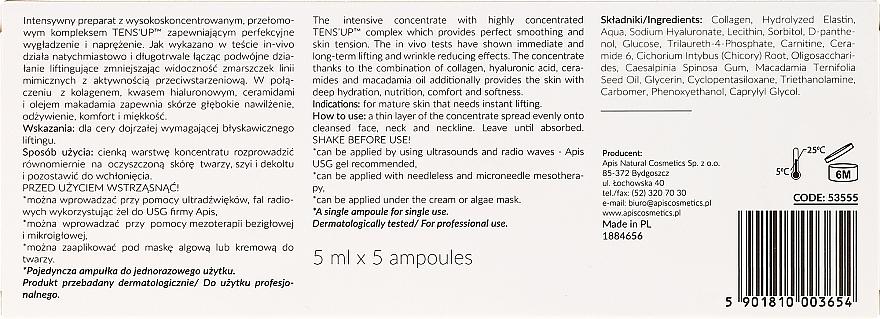 Concentrado facial hidratante con colágeno, ácido hialurónico, ceramidas y aceite de macadamia - APIS Professional Concentrate Ampule Ten's Up — imagen N3