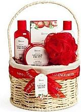 Perfumería y cosmética IDC Institute Vintage Fruits - Set corporal (gel de ducha/160ml+ loción/160ml+ exfoliante/110ml+ sales de baño/100g+ esponja+ cesta)