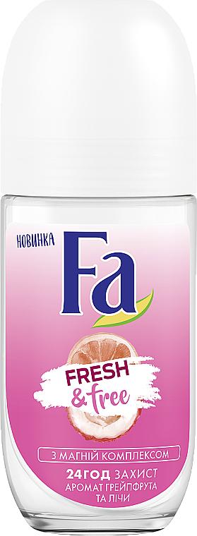 Desodorante antitranspirante roll-on com aroma a pomelo & lichi - FA Fresh & Free Grapefruit & Lychee