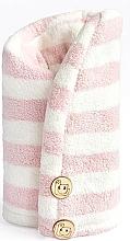 Perfumería y cosmética Toalla turbante de microfibra, rosa y blanco - Trust My Sister